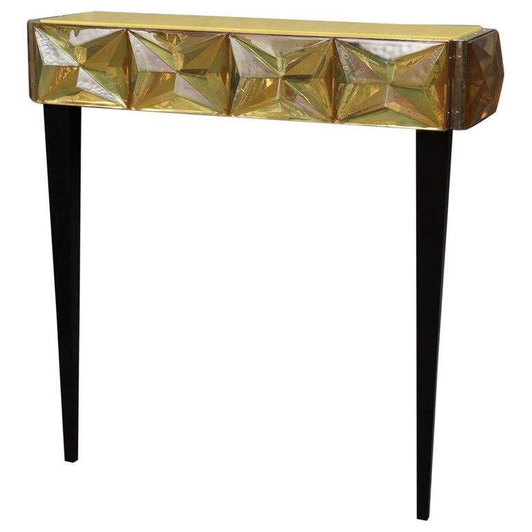 Murano Lively yellow Art Glass Italian Modern Console, 2020 For Sale