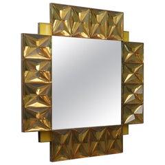 Murano Lively yellow Art Glass Italian Modern Wall Mirror, 2020
