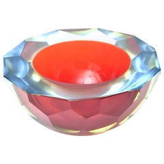 Murano Mandruzzato Sommerso Diamond Faceted Caviar Geode Glass Bowl Vintage