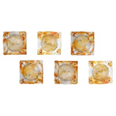 Murano Mazzega Fused Amber, Orange and Clear Glass Wall Sconces Set of 6 Vintage