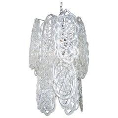 Murano Mazzega Glass Pendant Chandelier Vintage