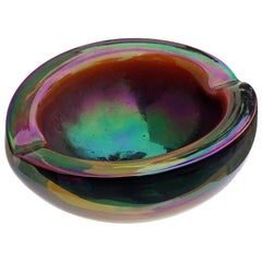 Murano Midcentury Dark High Iridescent Italian Art Glass Decorative Bowl