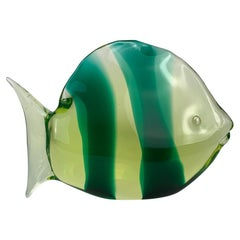 Murano Mid Century Glass Fish with Green Bends