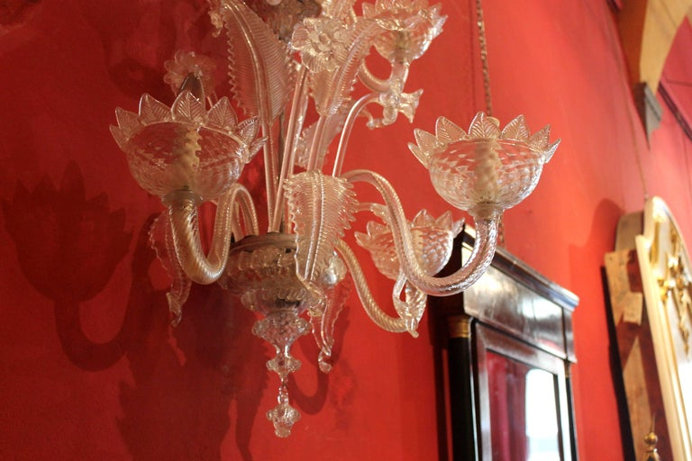 Mid-Century Modern Pair of Murano Mid-Century Hand-Blown Transparent Glass Two Tiers Wall Sconces For Sale
