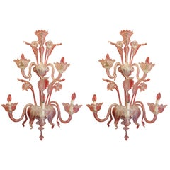 Pair of Murano Mid-Century Hand-Blown Transparent Glass Two Tiers Wall Sconces