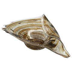 Murano Midcentury Shell Shaped Folded Art Glass Bowl with Inclusions