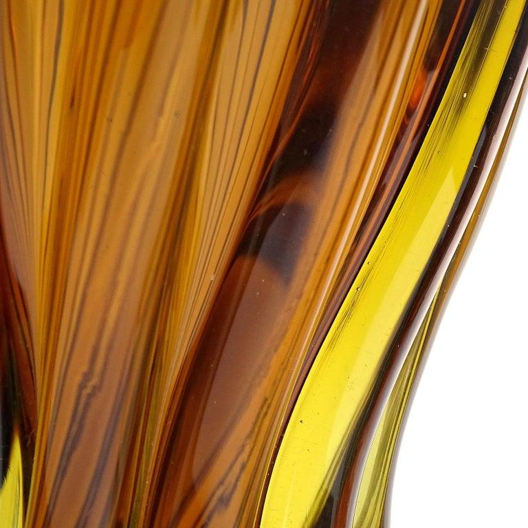Mid-Century Modern Murano Midcentury Sommerso Dark Amber Yellow Italian Art Glass Bottle Decanter For Sale