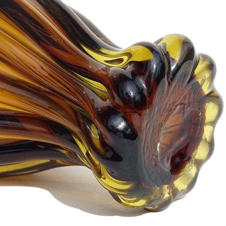 20th Century Murano Midcentury Sommerso Dark Amber Yellow Italian Art Glass Bottle Decanter For Sale