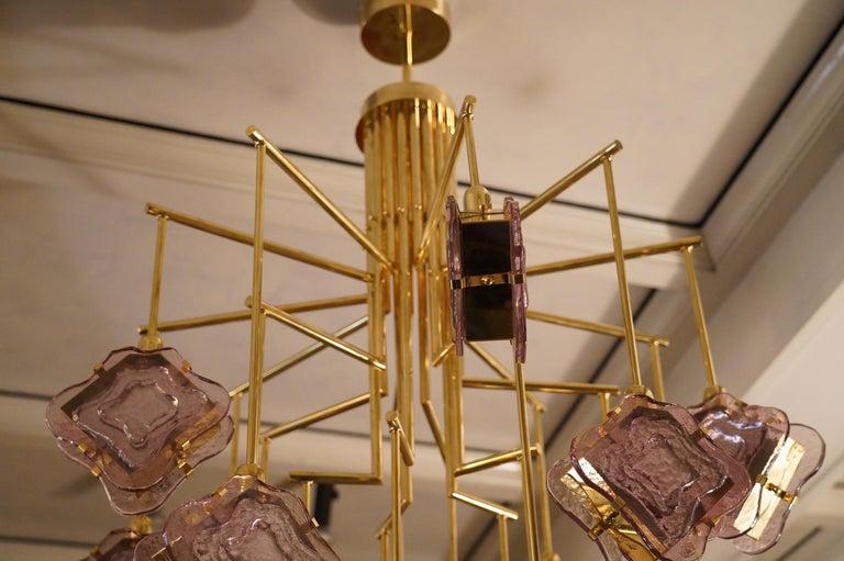Murano Midcentury Artglass and Brass Chandelier, 1970 For Sale 6
