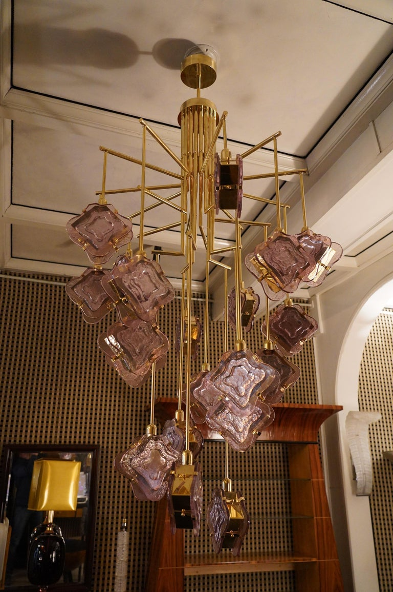 Late 20th Century Murano Midcentury Artglass and Brass Chandelier, 1970 For Sale