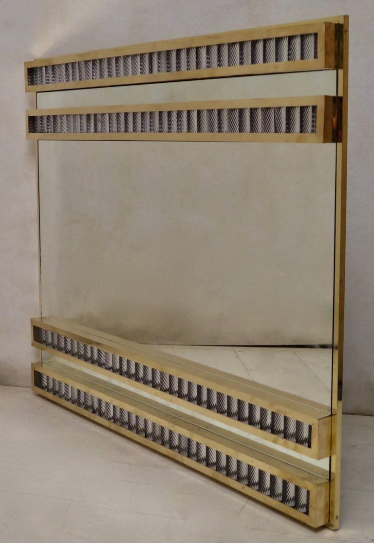 Murano Midcentury Brass and Glass Wall Mirror, 1950 For Sale 1
