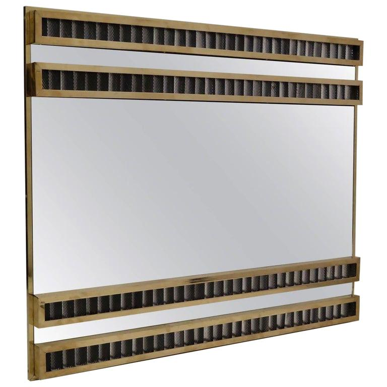 Murano Midcentury Brass and Glass Wall Mirror, 1950 For Sale
