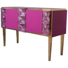 Murano Midcentury Pastel Pink Colored Glass Sideboards, 2020