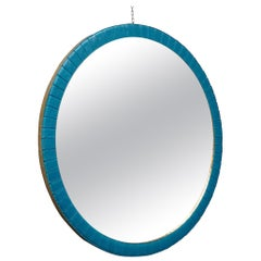 Murano Midcentury Round Blue Glass and Brass Wall Mirror, 1950