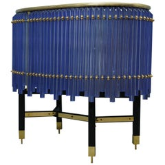 Murano Midcentury Round Periwinkle Color Glass and Brass Sideboards, 1970