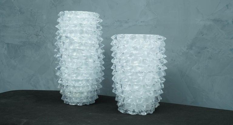 Murano Midcentury Round White Color Italian Vase, 1970 For Sale 1