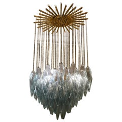 Murano Midcentury Sea Water Color Glass and Brass Chandelier, 1970