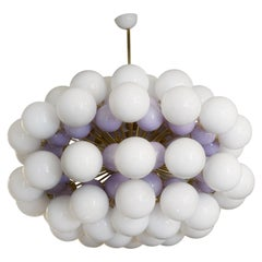 Murano Midcentury Spherical White and Lilac Glass and Brass Chandelier, 1990