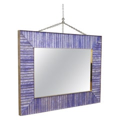 Murano Midcentury Violet Glass Brass and Velvet Wall Mirror, 1970