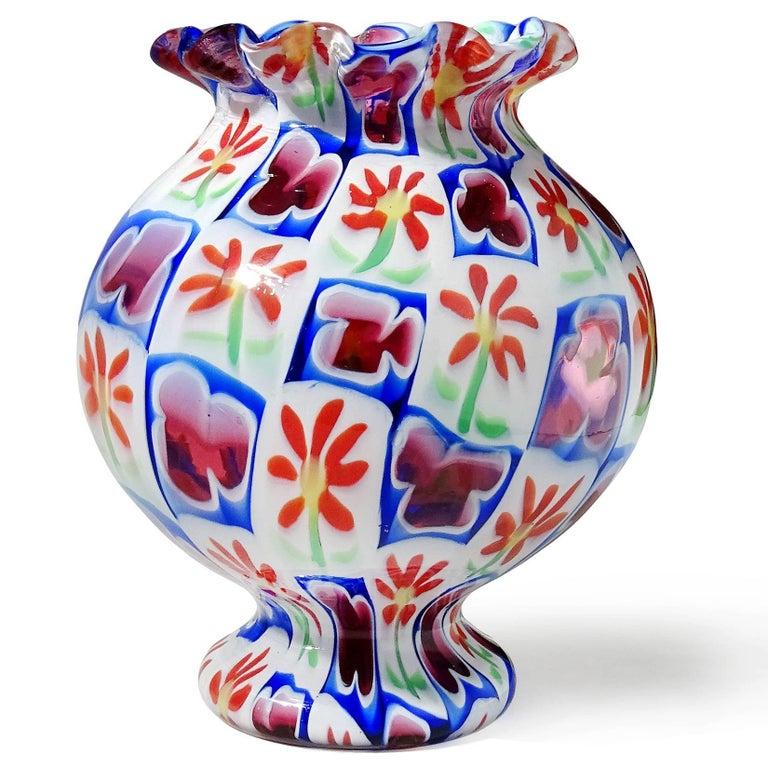 Mid-Century Modern Murano Millefiori Clover Flower Mosaic Italian Art Glass Cabinet Flower Vase