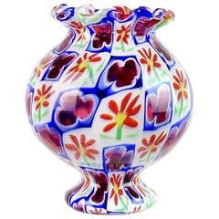 Murano Millefiori Clover Flower Mosaic Italian Art Glass Cabinet Flower Vase