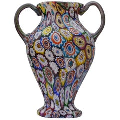 Murano Millefiori Glass Double Handled Monumental Vase Fratelli Toso, 1920s