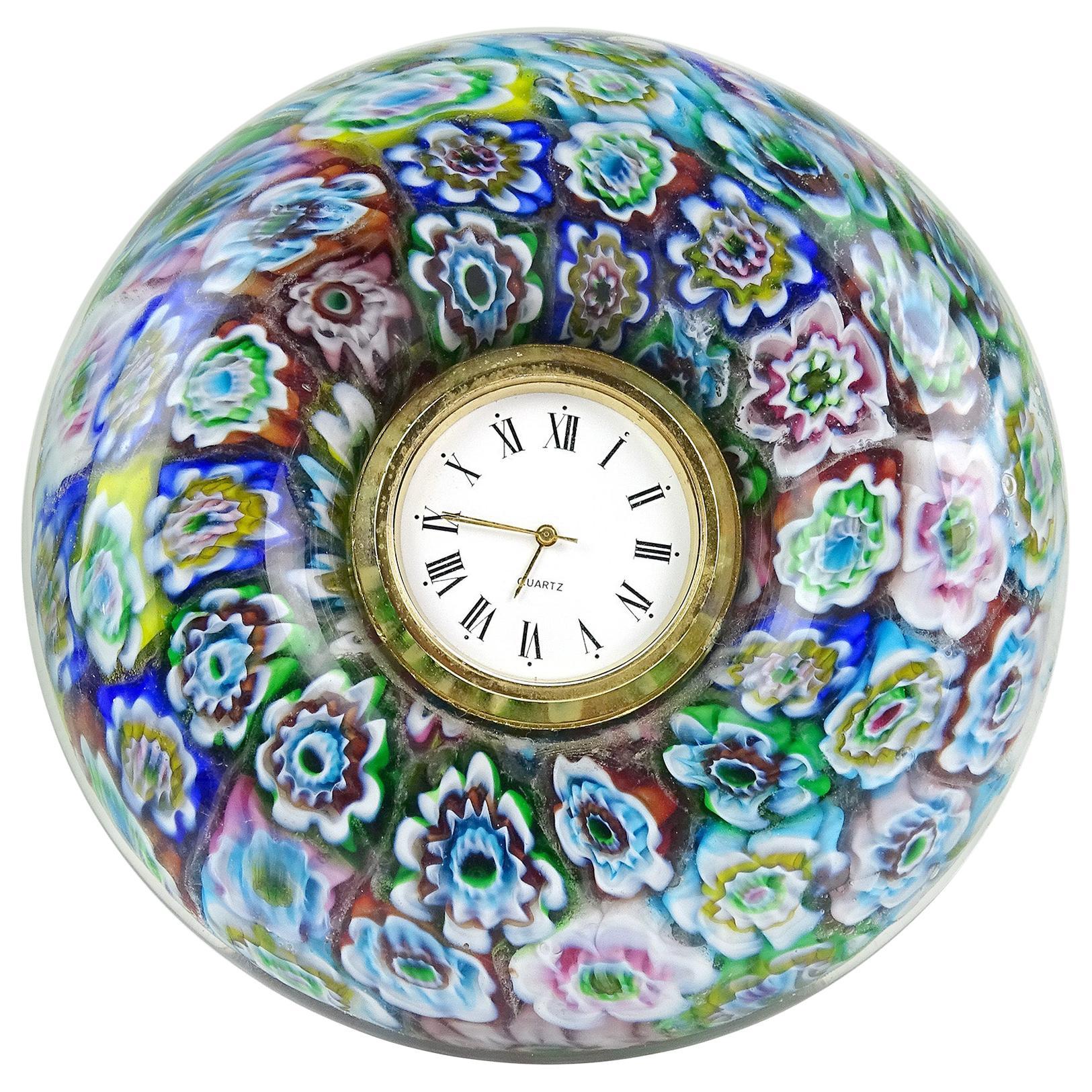 Murano Millefiori Mosaic Flowers Italian Art Glass Decorative Round Desk Clock