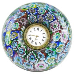 Murano Millefiori Mosaic Flowers Italian Art Glass Decorative Round Desk Clock