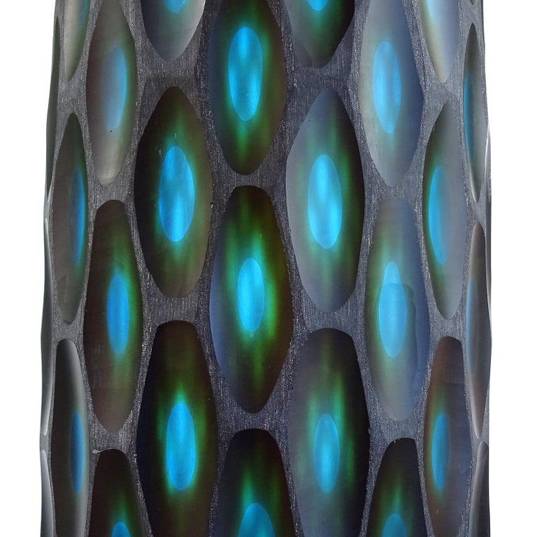 Hand-Crafted Murano Modern Carved Black Blue Green Italian Art Glass Sculptural Flower Vase For Sale