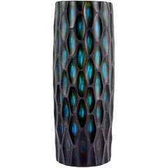 Murano Modern Carved Black Blue Green Italian Art Glass Sculptural Flower Vase