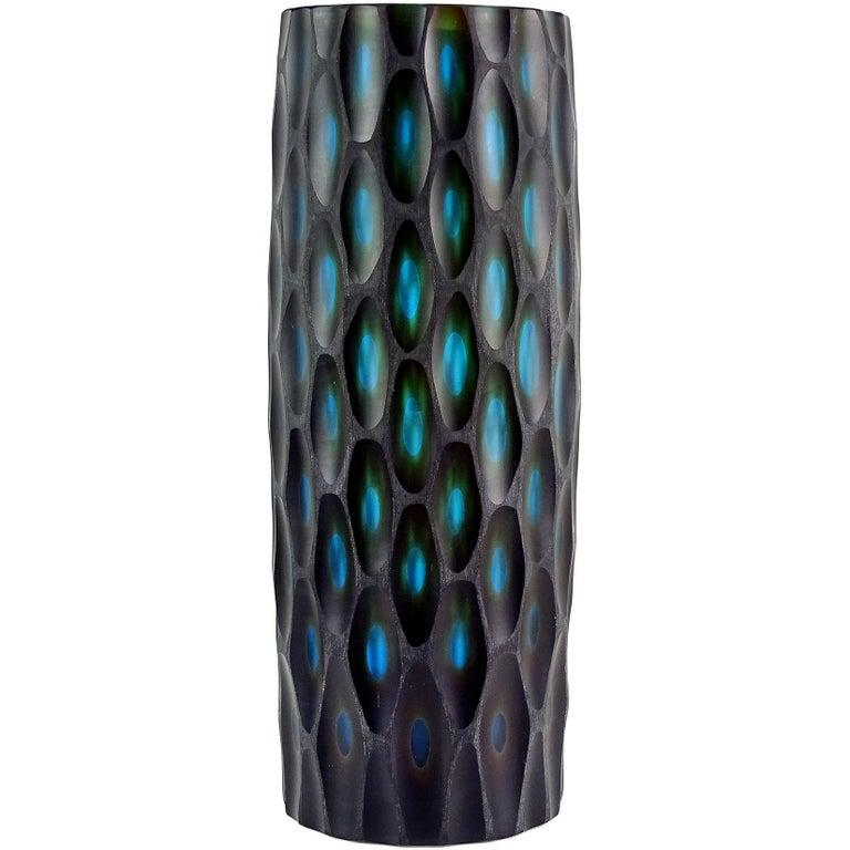 Murano Modern Carved Black Blue Green Italian Art Glass Sculptural Flower Vase For Sale