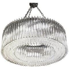 Murano Modernist Clear Glass Ring Triedri Chandelier, Kalmar, above 350 Elements