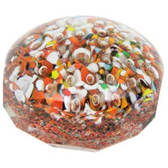 Murano Multi-Color Millefiori Faceted Art Glass Paperweight with Air Bubbles