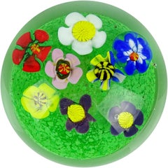 Murano Multi-Color Millefiori Wild Flower Garden Italian Art Glass Paperweight