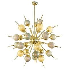 Murano Multicolored Glass on Brass Sputnik Chandelier