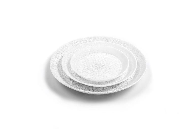 Contemporary Murano Murrine Glass Plate 'Bouquet L White' Millefiori Technique For Sale