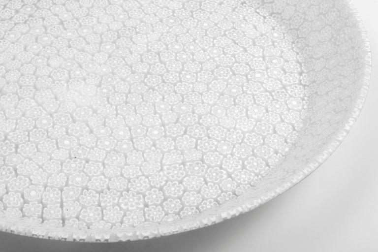 Murano Murrine Glass Plate 'Bouquet L White' Millefiori Technique For Sale 1
