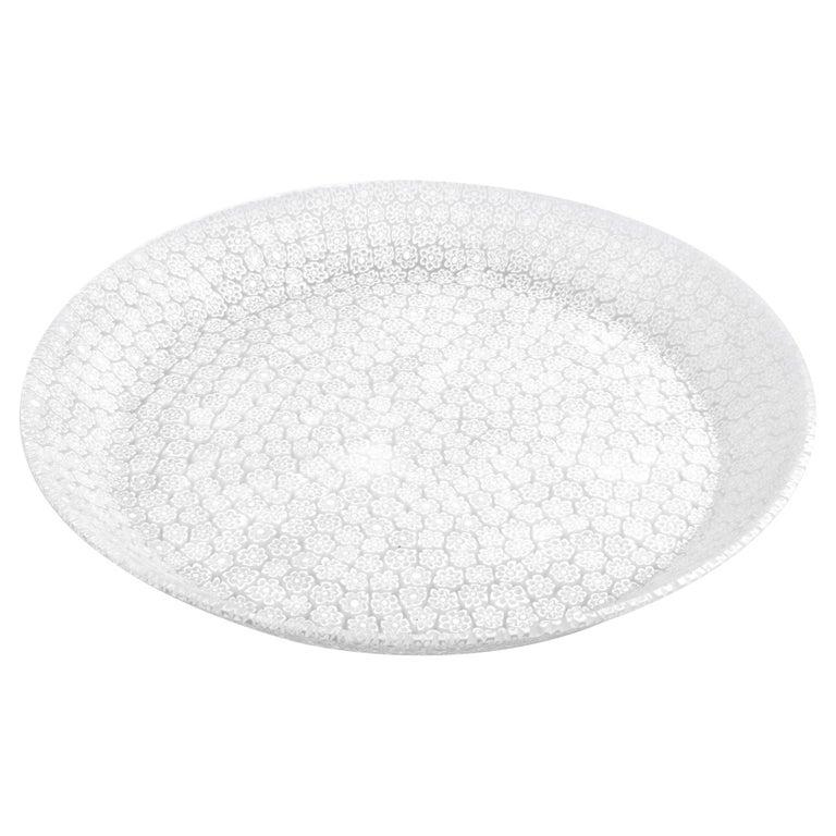 Murano Murrine Glass Plate 'Bouquet L White' Millefiori Technique For Sale