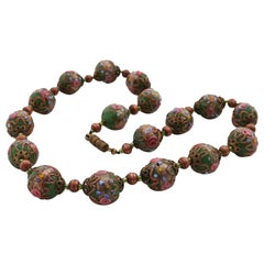 Murano necklace Millefiori around 1950 , Midcentury glass art from Venice