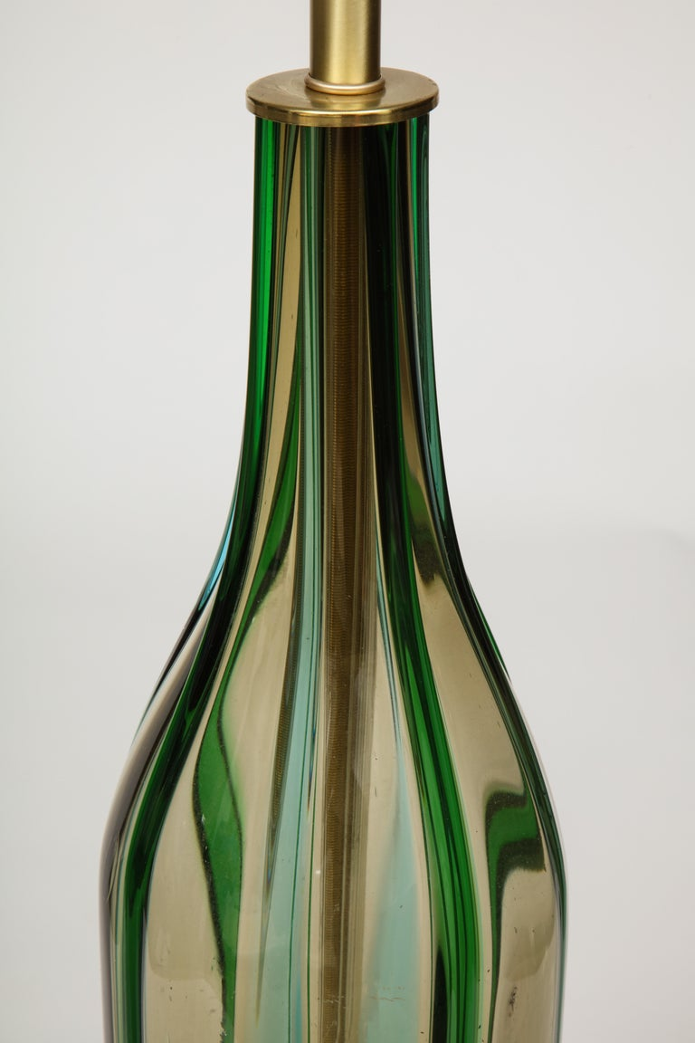 Murano Olive Green, Vertical Striped Glass Lamps For Sale 3