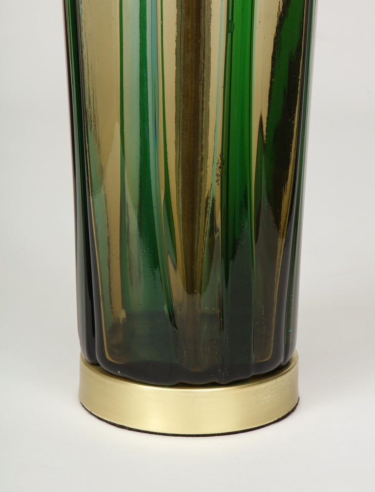 Murano Olive Green, Vertical Striped Glass Lamps For Sale 6