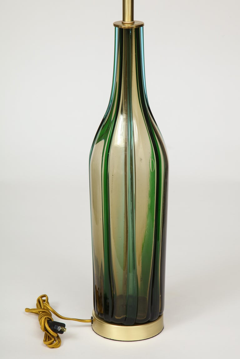 Murano Olive Green, Vertical Striped Glass Lamps In Good Condition For Sale In New York, NY