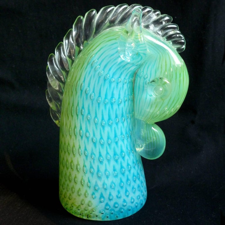 Mid-Century Modern Murano Opalescent Blue Green Italian Art Glass Horse Pony Paperweight Sculpture For Sale