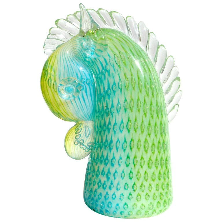 Murano Opalescent Blue Green Italian Art Glass Horse Pony Paperweight Sculpture For Sale