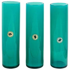 Murano Opalescent Blue Italian Art Glass Round Cylinder Flower Vases with Labels