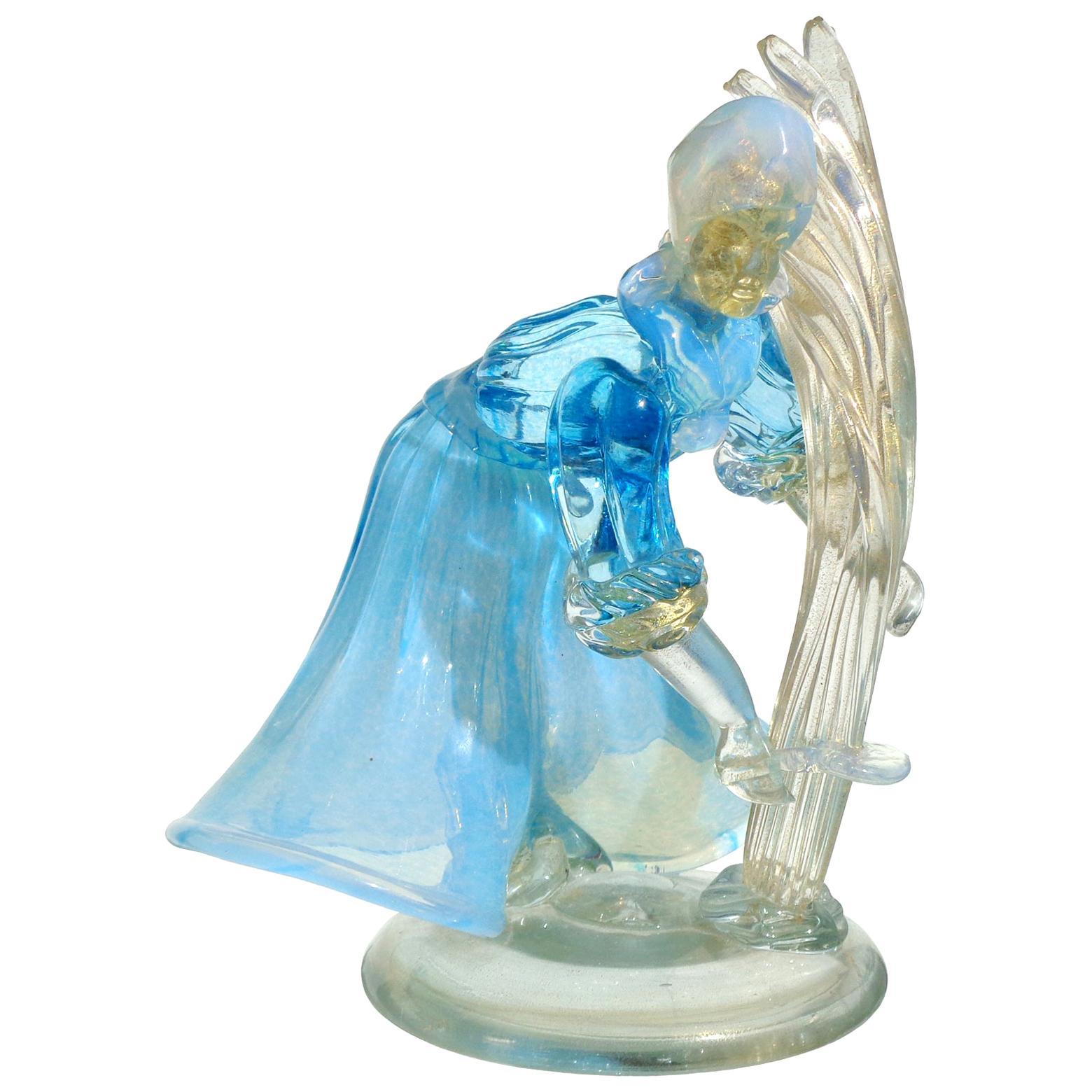 Murano Opalescent Blue White Gold Flecks Italian Art Glass Farmer Sculpture