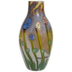 Murano Opalescent Chalcedony Millefiori Flower Murrines Italian Art Glass Vase