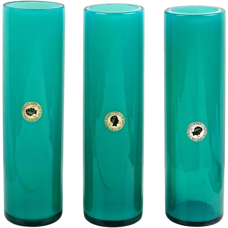 Murano Opalescent Red Italian Art Glass Round Cylinder Flower Vases with Labels For Sale 1