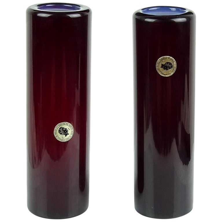 Murano Opalescent Red Italian Art Glass Round Cylinder Flower Vases with Labels For Sale