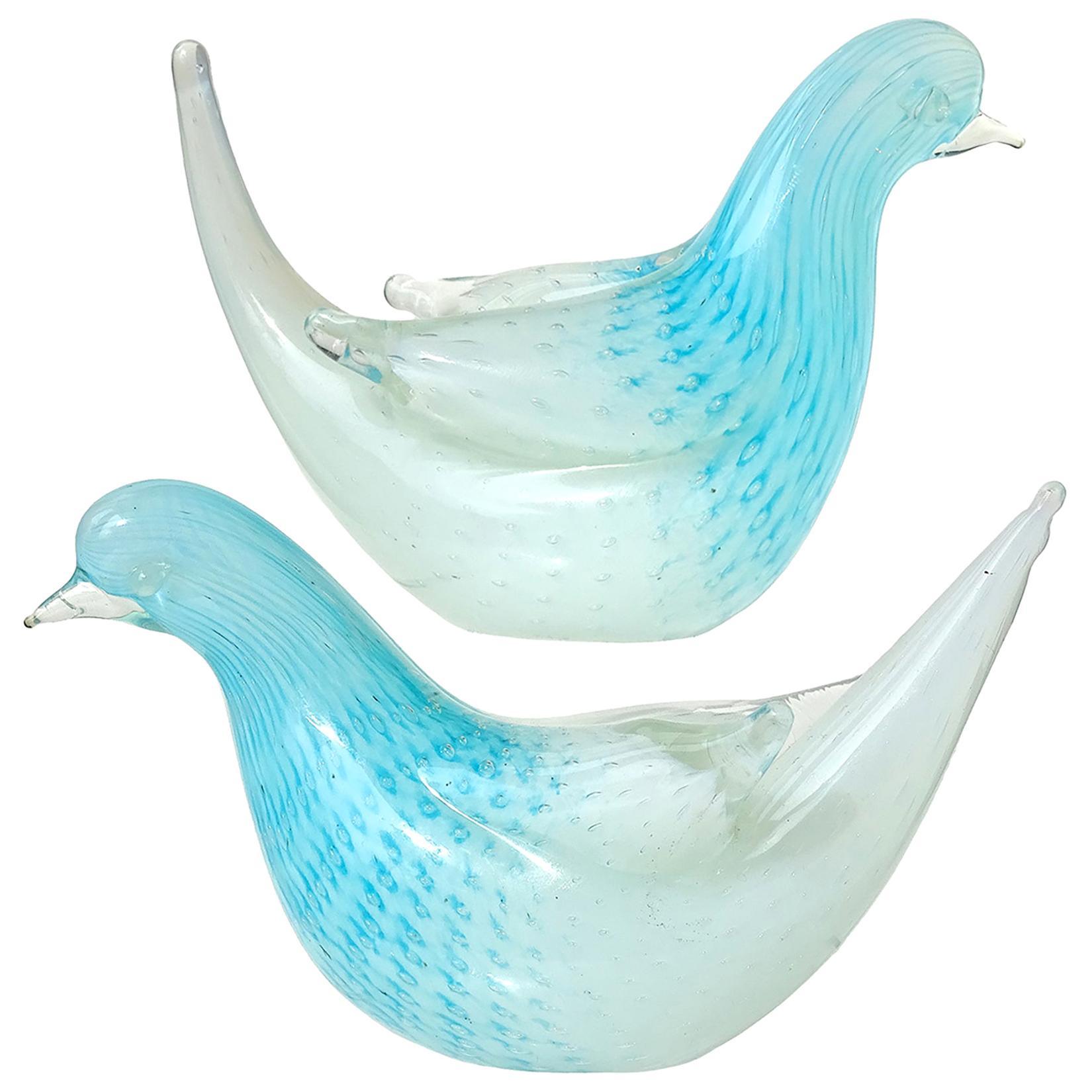 Murano Opalescent White Blue Bubbles Italian Art Glass Dove Bird Figurines